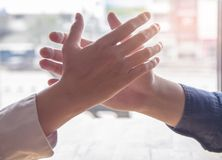 Close up hand. Group asian businessman together create a mutually beneficial business relationship. royalty free stock photo