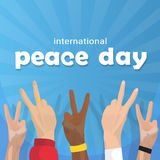 Hand Group Peace Sign World International Holiday Poster Royalty Free Stock Photography
