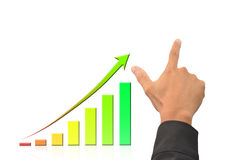 Hand and growing bussiness graph Stock Images