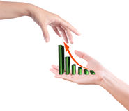 Hand with growing graph Royalty Free Stock Photos