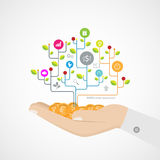 Hand Growth tree idea connected circles, integrated flat icons. Illustration Stock Image