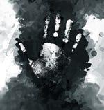 Hand grunge. Image of palm grunge print in grunge style royalty free illustration