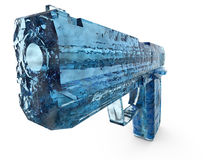 Hand gun. Rendered image of blue icy transparent hand gun Stock Photography