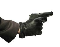 Hand with gun. Hand in leather gloves with gun isolated on white Stock Photo