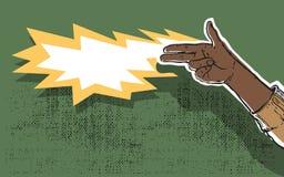 Hand gun. Shooting grunge illustration Stock Photo