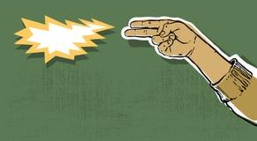 Hand gun. Shooting grunge illustration Royalty Free Stock Photography