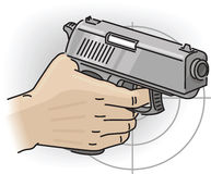 Hand with gun. Hand holds the multicharge grey gun Royalty Free Stock Photo