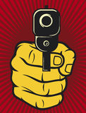 Hand with gun. (pistol), gun pointed stock illustration