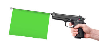 Hand gun with flag Stock Image