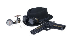 Hand Gun Goggles Hat and Steam Gadget Stock Photos