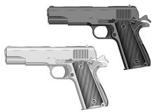 Hand gun. Handgun, gun, weapon light gray and dark gray variants. Vector illustration, you can easily change the color and size Royalty Free Stock Image