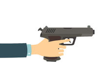 Hand With Gun. Hand holding a gun  on white background. Vector flat illustration Royalty Free Stock Images
