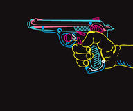 Hand With A Gun. Illustration of a hand holding a gun, neon colors on black Royalty Free Stock Photography