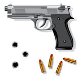 Hand gun. Isolated on white background with bullets and bullet holes. Vector illustration stock illustration