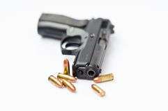 Hand gun and magazine. Automatic 9 mm.hand gun and magazine Royalty Free Stock Images