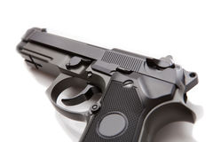 Hand gun with no logos or serial numbers - close up studio shot on white Stock Photo