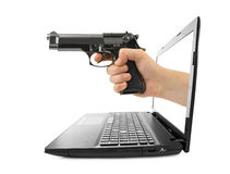 Hand with gun and notebook Stock Image