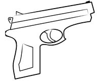 Hand gun outline Stock Photos
