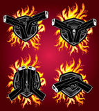 Hand gun pistol glock fire element design Stock Photos