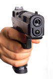 Hand gun pointed on you Royalty Free Stock Photos