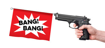 Hand gun prank Stock Images