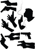 Hand With Gun. Several black silhouette of hands with gun in various positions Royalty Free Stock Photos