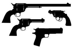 Hand Gun Silhouettes Royalty Free Stock Photos