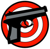 Hand gun with target. Hand gun with red and white target behind - vector Stock Photos