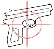 Hand gun with target. Hand gun outline with cross hair target on top - vector Stock Photography