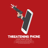 Hand With Gun Threatening Phone Concept Royalty Free Stock Photo