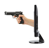 Hand with gun and tv Royalty Free Stock Photo