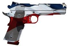 Hand gun with USA flag texture Royalty Free Stock Photos