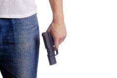 Hand with gun. Hand white man with a gun. Crime Royalty Free Stock Images