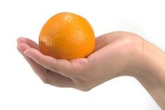 Hand hält eine Orange an Stockfotografie