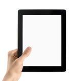 Hand hält elektronischen Tablette PC getrennt an stockbild