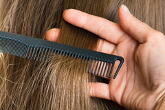 Hand of hairdresser with strand of hair and comb Stock Photos