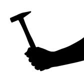 Hand with hammer Stock Images