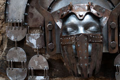 Hand-hammered iron mask Stock Image