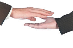 Hand in a hand. Contact of man's and female hands Royalty Free Stock Images