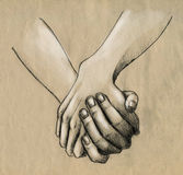 Hand in hand. Two hands holding. Pencil drawing, sketch Royalty Free Stock Photos