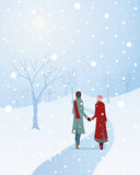 Hand in hand. An illustration of a winter scene with a warmly dressed couple walking through a snowy park holding hands Stock Images