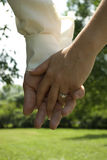 Hand in hand. Newlyweds walking hand in hand Royalty Free Stock Images