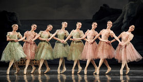 Hand-in-hand ballet girls. Ballet Swan Lake by Russian State Ballet performed in Jiangxi Art Center Stock Image