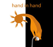 Hand in hand in an effort to carry the heat Royalty Free Stock Photography