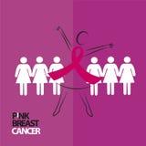 hand - in - hand för Breats cancer royaltyfri illustrationer