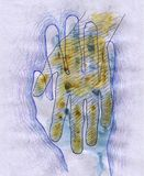 Hand in Hand. Image of hand in hand, created with ink, watercolor, pencils Royalty Free Stock Photo