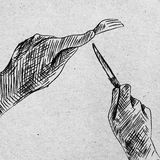 Hand  by hand with a knife and fork. Hand sketch by hand with a knife and fork Stock Photo