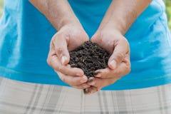 Hand in Hand mit Boden Natürlicher Hintergrund stockfotografie