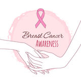 Hand in hand support. Breast cancer awareness pink ribbon, vector illustration Stock Images