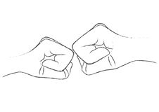 Hand on hand. Two hands tack together to show the relationship of each other Royalty Free Stock Photo
